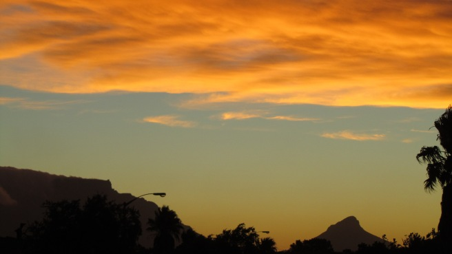 Sunset over Table mountain. - Scene a few steps from my back door