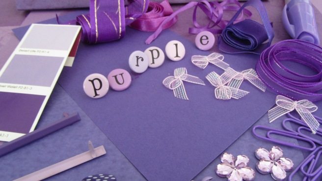 purple scrapbooking supplies