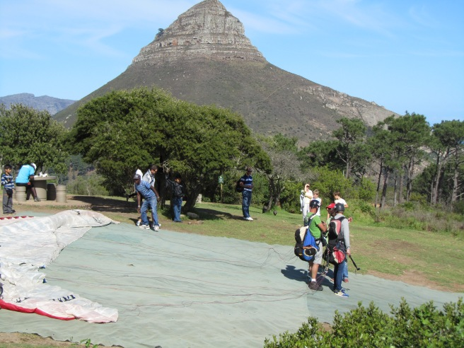 Preparing for the jump- Lions Head in the background