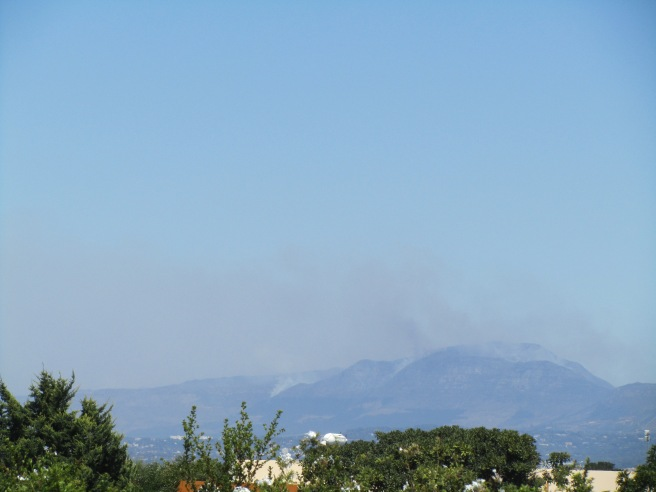 Smoke from the fires  -photo taken from Plattekloof