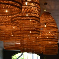 I saw these basket hanging lights in a restaurant.
